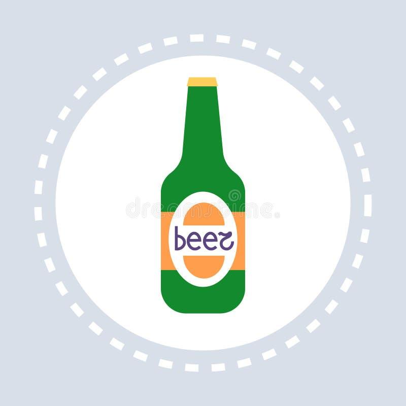Conceito insalubre da bebida alcoólica do ícone da garrafa de cerveja horizontalmente ilustração royalty free