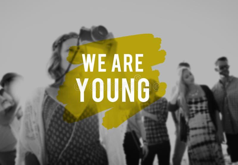Conceito inspirado dos adolescentes da energia da juventude nova foto de stock