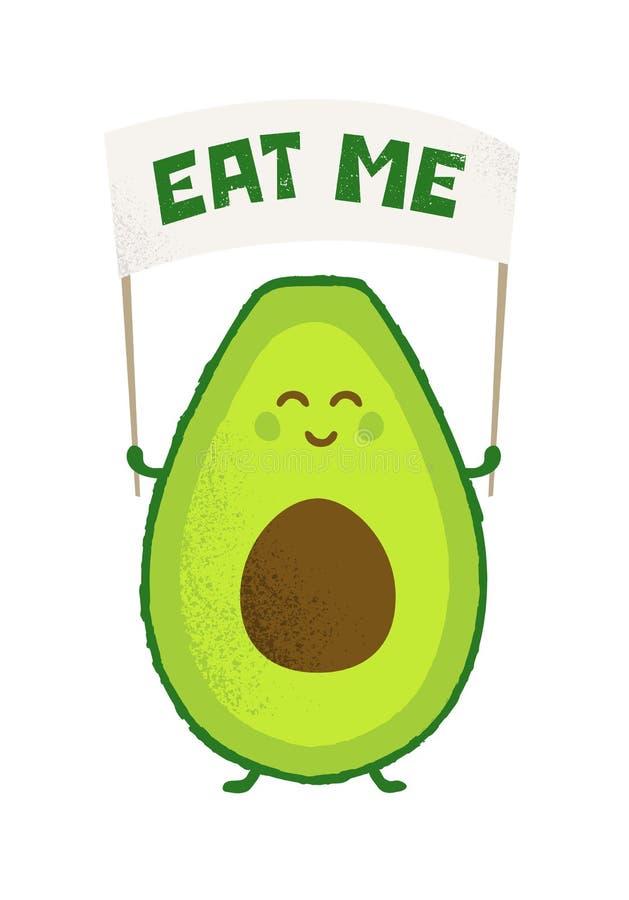 Conceito inspirador do cartaz do vetor criativo engraçado do poder do abacate da dieta do Keto Bandeira brilhante do alimento sau ilustração do vetor