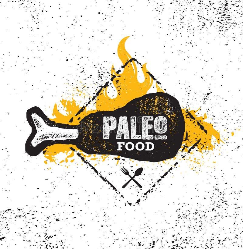 Conceito integral orgânico da ilustração da nutrição primordial da dieta de alimento de Paleo no fundo áspero da parede Sinal gig ilustração royalty free
