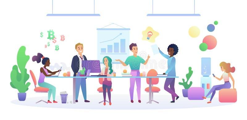 Conceito interior center de Coworking Povos multiculturais que falam e que trabalham nos computadores no espaço aberto moderno ilustração stock