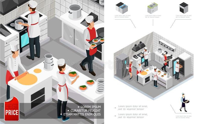 Conceito interior da cozinha isométrica do restaurante ilustração do vetor