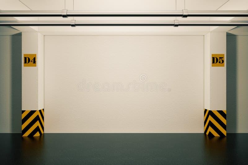 Conceito interior industrial Esvazie a garagem de estacionamento subterrânea 3 ilustração royalty free