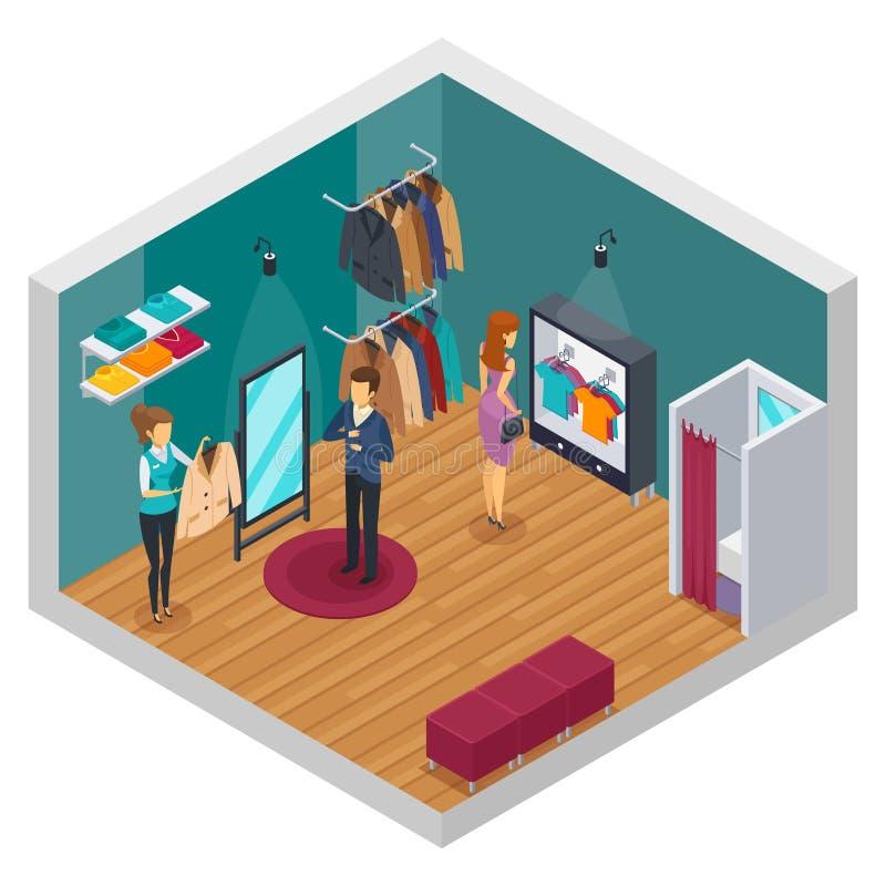Conceito interior isométrico de tentativa da loja ilustração do vetor