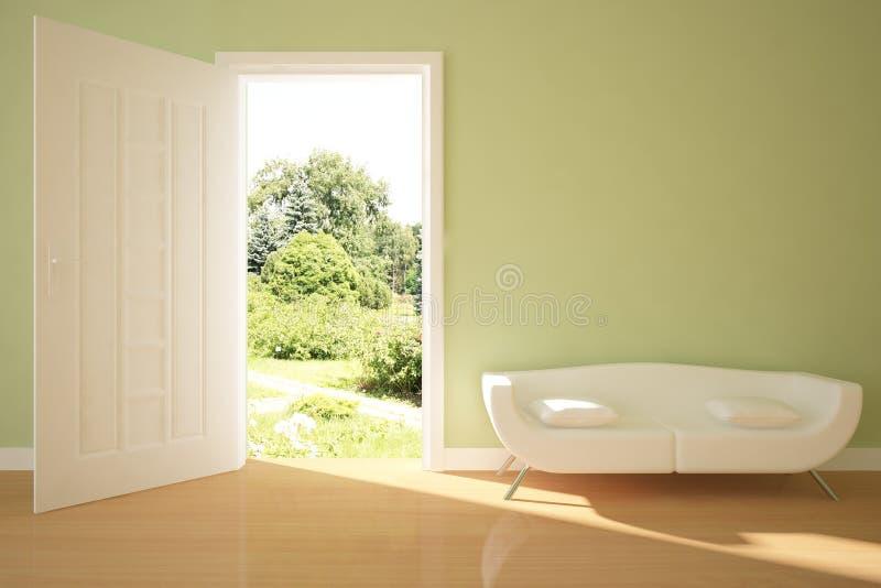 Conceito interior verde com estar aberto ilustração royalty free