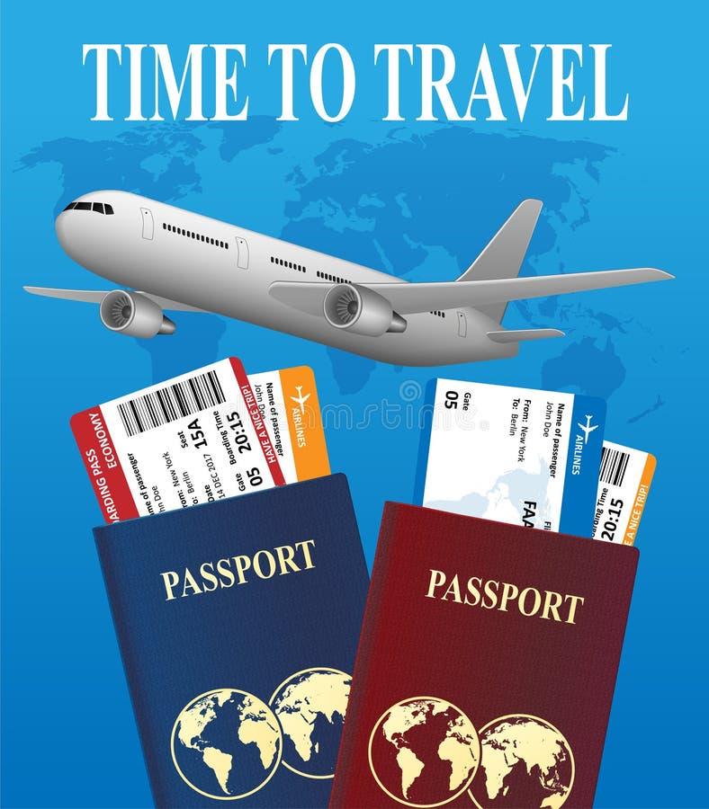 Conceito internacional das férias da viagem aérea Bandeira da viagem de negócios com bilhetes de avião e o avião realístico Vetor ilustração royalty free