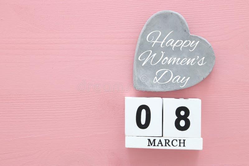 Conceito internacional do dia das mulheres Imagem da vista superior foto de stock