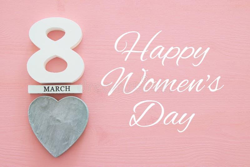 Conceito internacional do dia das mulheres Imagem da vista superior fotografia de stock royalty free
