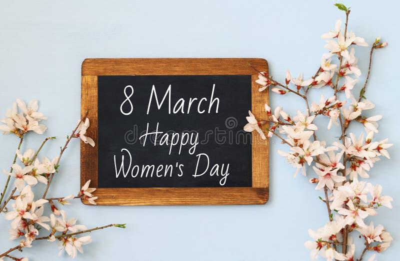 Conceito internacional do dia das mulheres Imagem da vista superior foto de stock royalty free