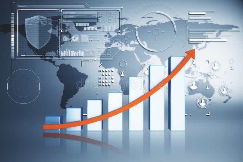 Conceito internacional do negócio, da finança e da inovação ilustração royalty free