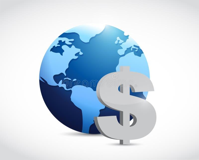 conceito internacional do sinal de moeda do dólar ilustração stock