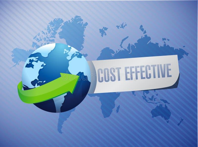 Conceito internacional eficaz na redução de custos do sinal ilustração stock