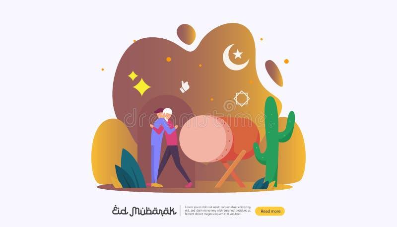 conceito islâmico da ilustração do projeto para o eid feliz Mubarak ou cumprimento de ramadan com caráter dos povos molde para a  ilustração stock
