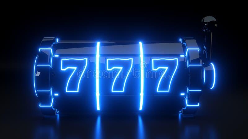 Conceito isolado no fundo preto - do slot machine do casino ilustração 3D ilustração do vetor