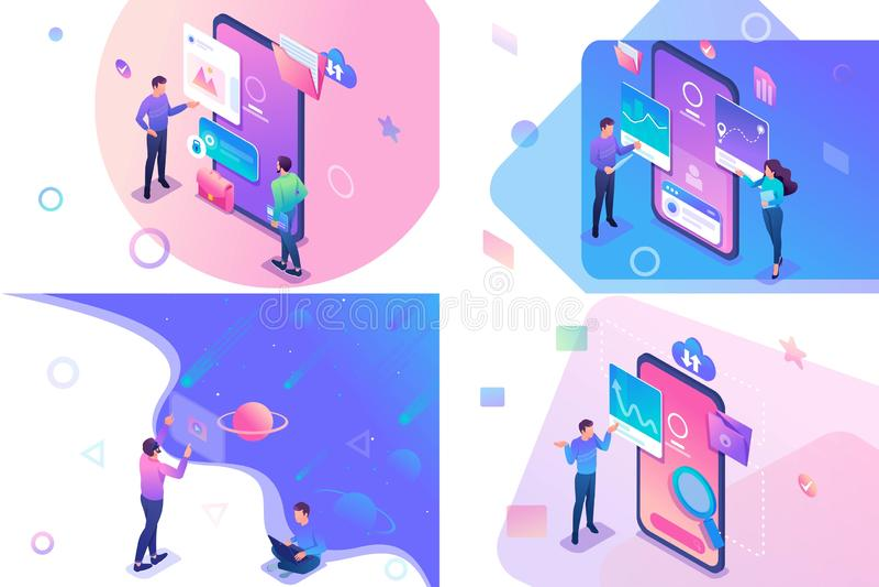 Conceito isométrico ajustado com os adolescentes novos que trabalham em uma tabuleta e em uma tela do telefone celular Para o Web ilustração stock