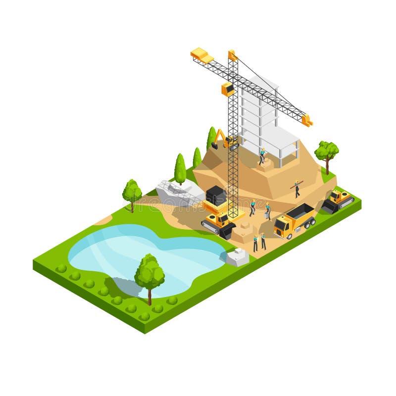 Conceito isométrico comercial do vetor da construção civil 3d para o projeto do local da arquitetura ilustração do vetor