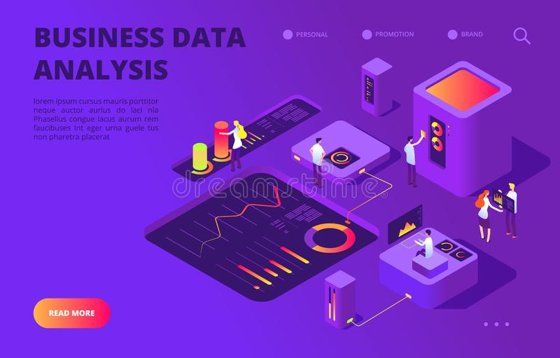 Conceito isométrico da análise de dados Os povos trabalham na carta infographic, banco de dados do painel Vetor da aterrissagem d ilustração royalty free