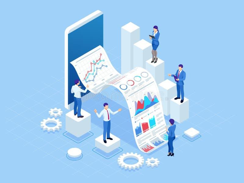 Conceito isométrico da análise de negócio, analítica, pesquisa, estatística da estratégia, planeamento, mercado, estudo de ilustração do vetor