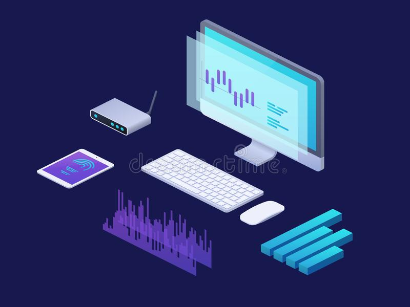 Conceito isométrico da analítica do negócio de Digitas a estratégia 3d infographic com portátil, marca cartas financeiras marketi ilustração stock