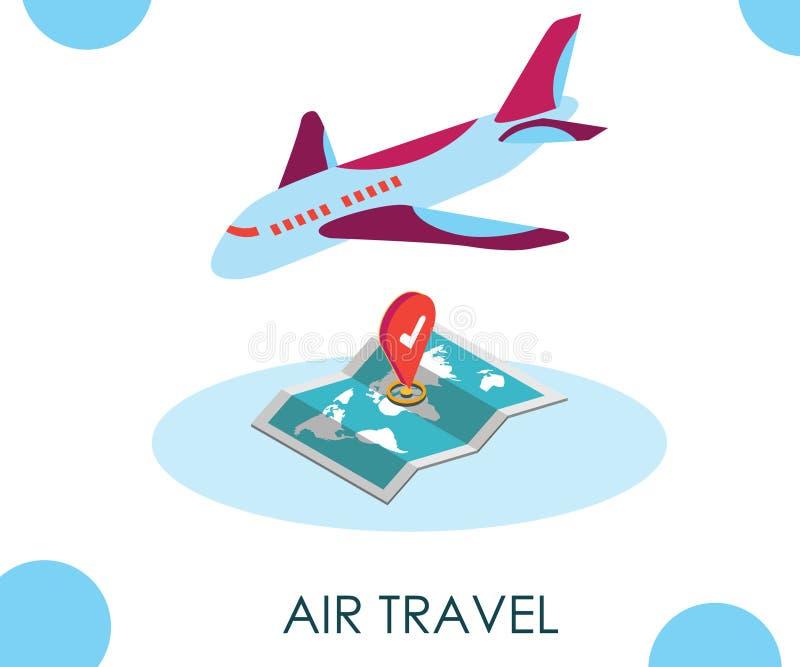 Conceito isométrico da arte finala da viagem aérea onde você pode registrar bilhetes ilustração royalty free