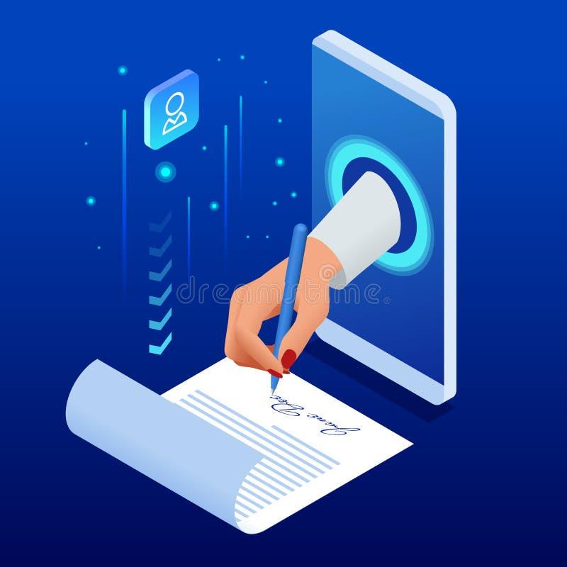 Conceito isométrico da assinatura eletrônica Documento eletrónico, formulário digital unido ao transmitido eletronicamente ilustração do vetor