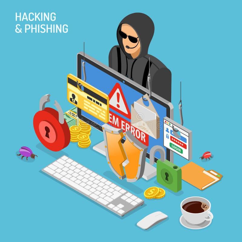 Conceito isométrico da atividade do hacker ilustração do vetor