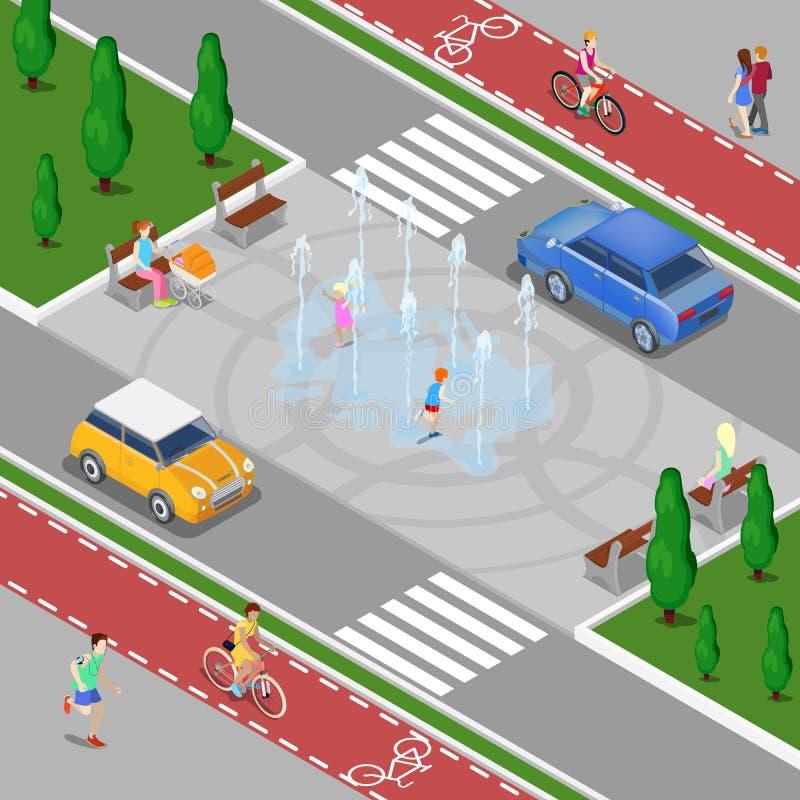 Conceito isométrico da cidade moderna Fonte da cidade com crianças Trajeto da bicicleta com povos da equitação ilustração royalty free