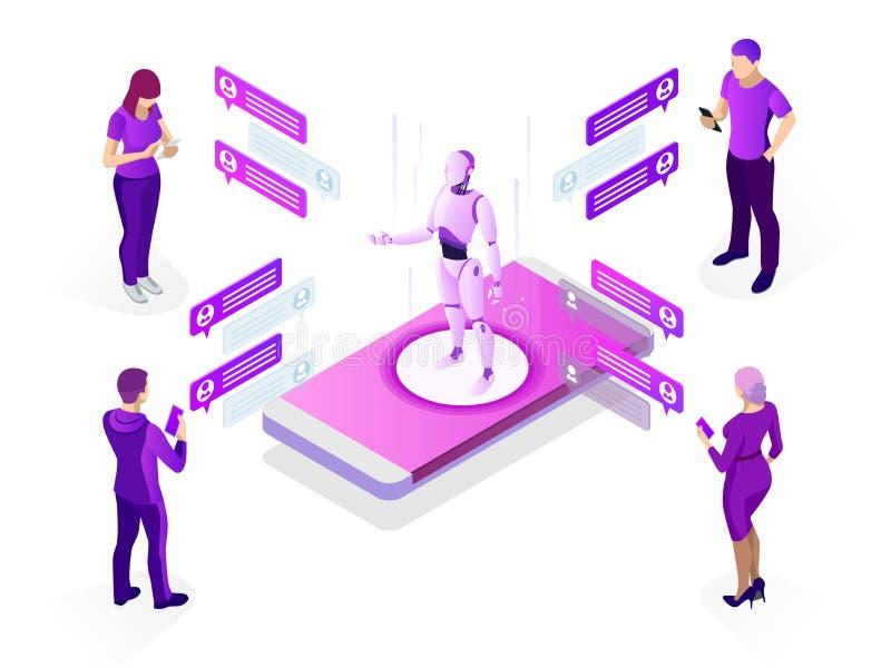 Conceito isométrico da inteligência artificial Conceito do AI e do negócio IOT Homem que comunica-se com o chatbot através do ins ilustração stock