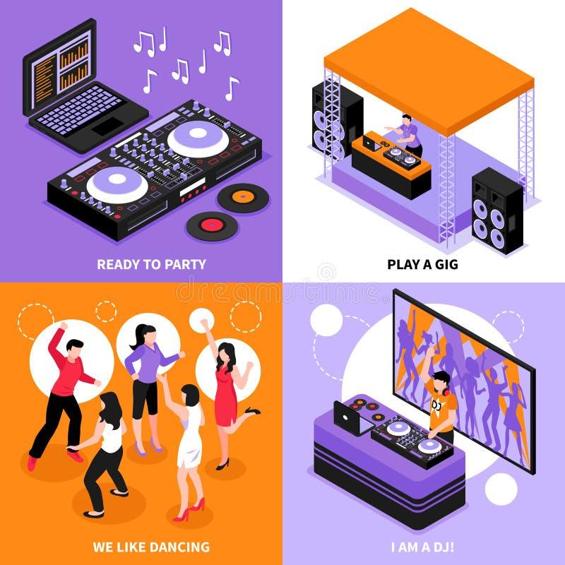 Conceito isométrico da música do DJ ilustração royalty free