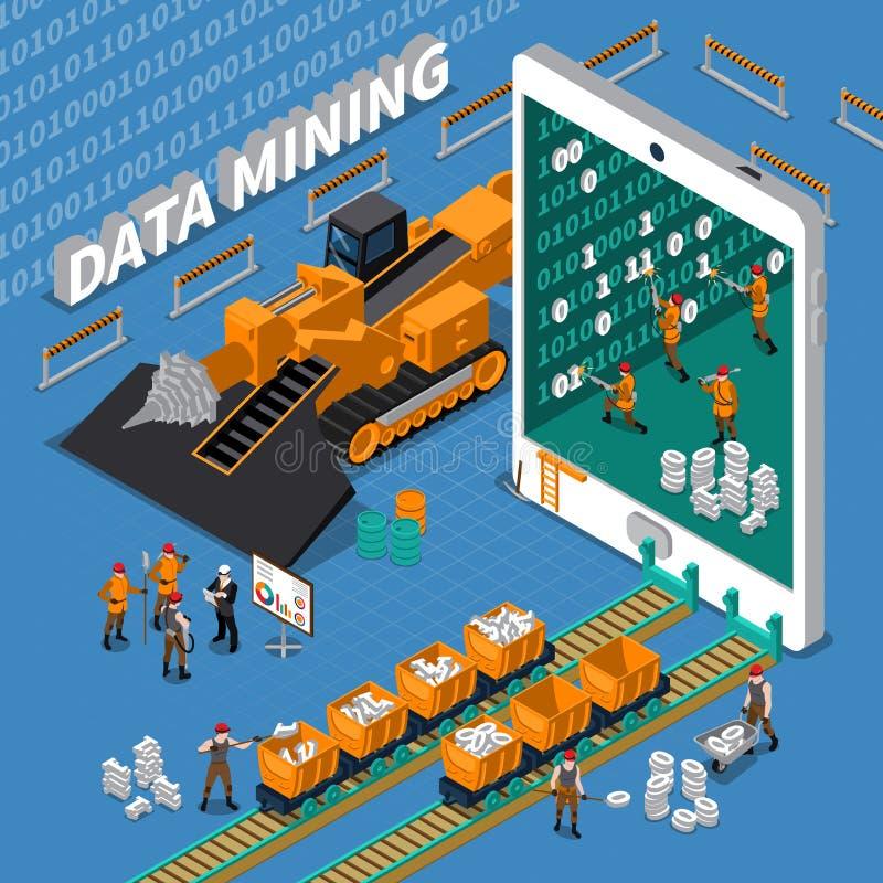 Conceito isométrico da mineração de dados ilustração do vetor