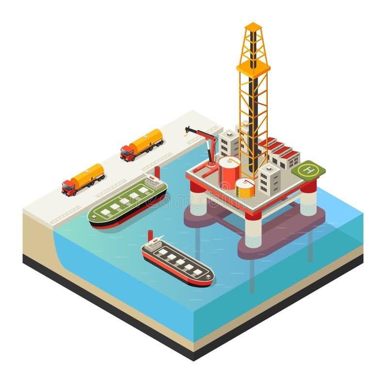 Conceito isométrico da plataforma petrolífera da água ilustração do vetor