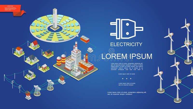 Conceito isométrico da produção de eletricidade ilustração royalty free