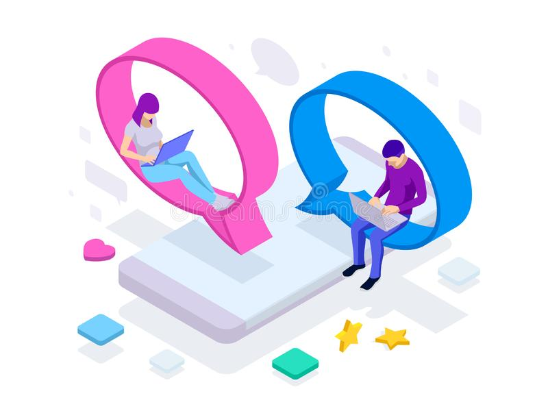 Conceito isométrico da rede social dos meios, uma comunicação digital, conversando Ícones em linha do app do homem e da mulher do ilustração do vetor