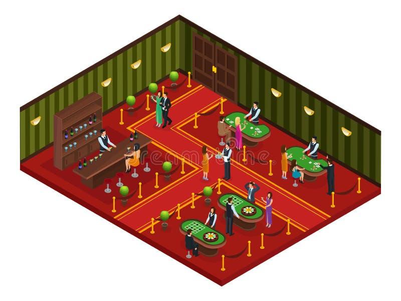Conceito isométrico da sala do jogo do casino ilustração royalty free