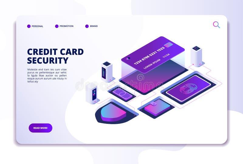 Conceito isométrico da segurança do cartão de crédito Transação em linha do banco do dinheiro da segurança Página da aterrissagem ilustração do vetor