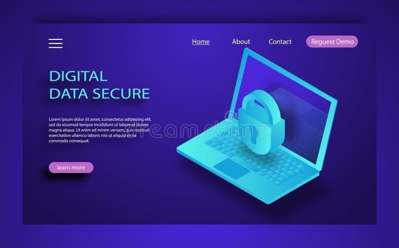 Conceito isométrico da segurança do Internet Trafique a criptografia, VPN, corte do Antivirus da proteção de privacidade 3d liso  ilustração stock