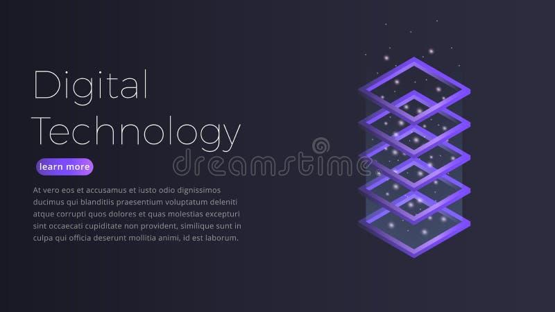 Conceito isométrico da tecnologia de Digitas Ilustração do datacenter futurista, processo de dados grande, acolhimento do servido ilustração do vetor
