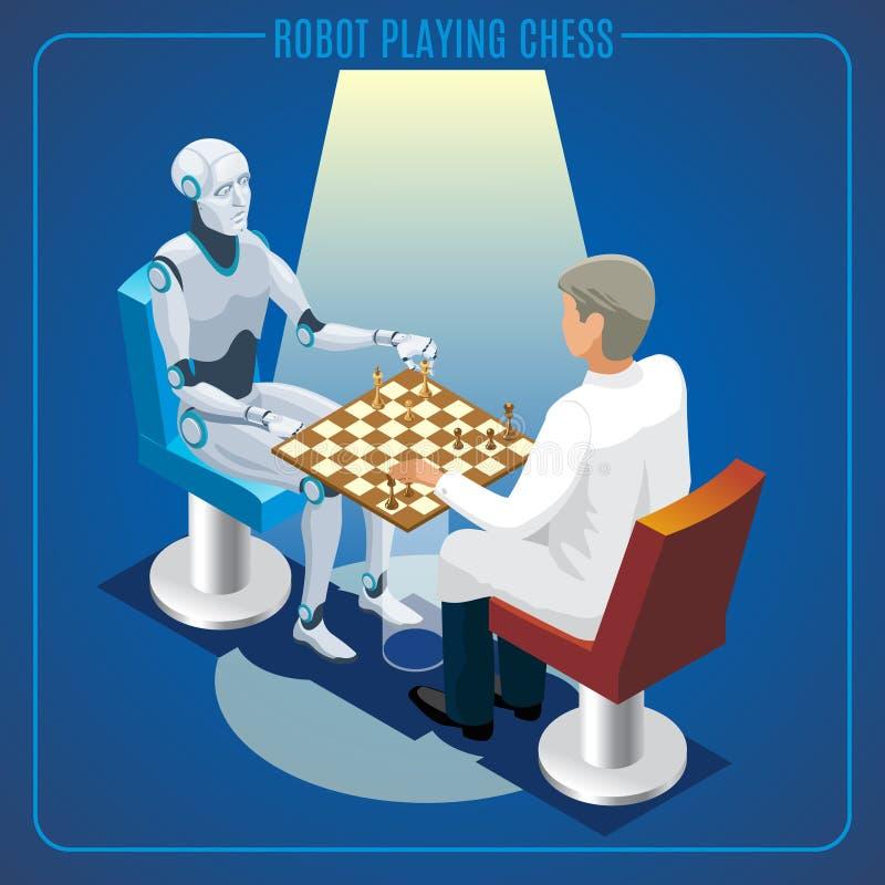 Conceito isométrico da tecnologia de inteligência artificial ilustração stock