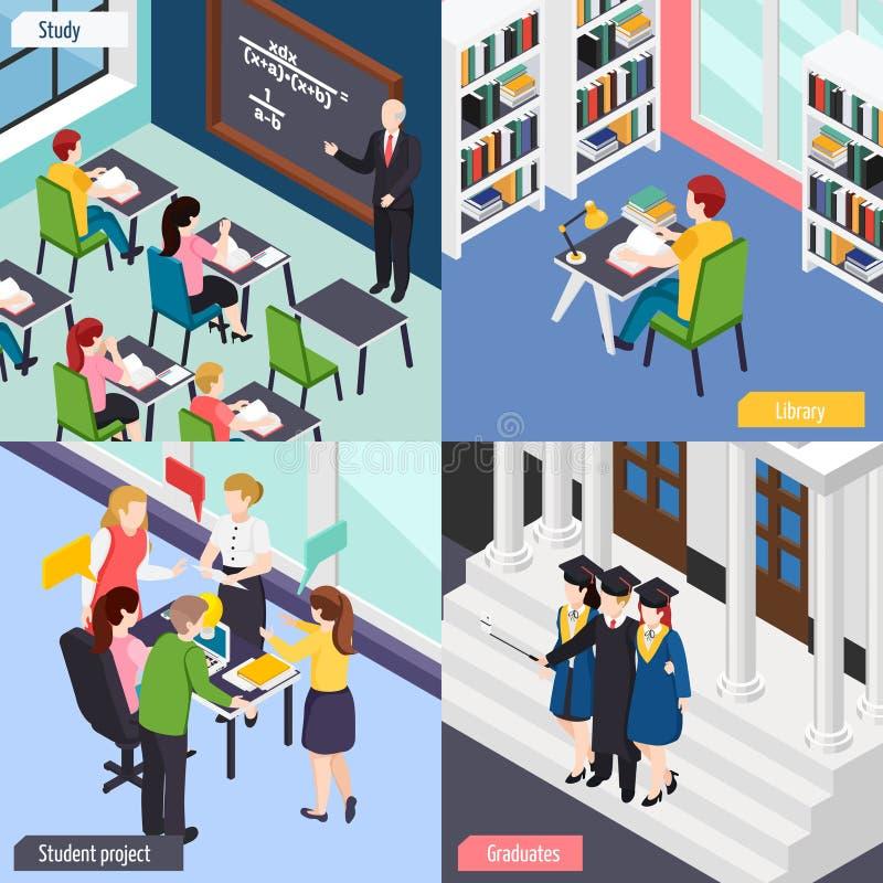 Conceito isométrico das estudantes universitário ilustração royalty free