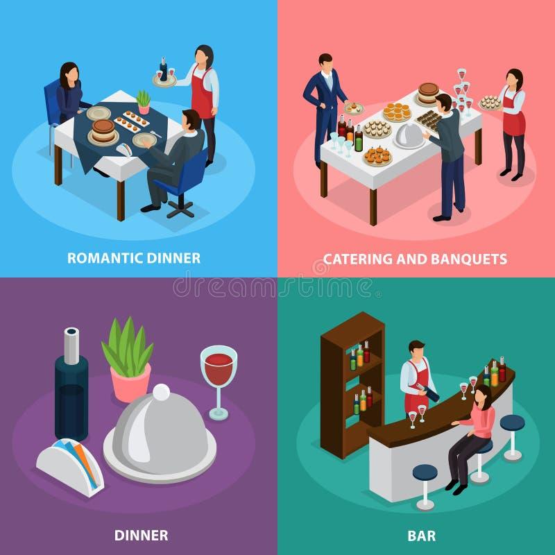 Conceito isométrico de abastecimento do banquete ilustração royalty free