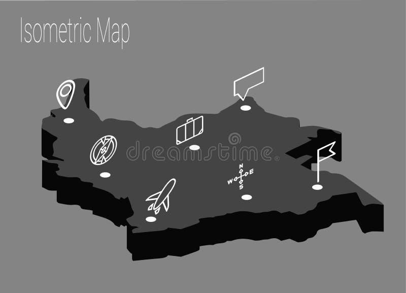 Conceito isométrico de Colômbia do mapa ilustração royalty free