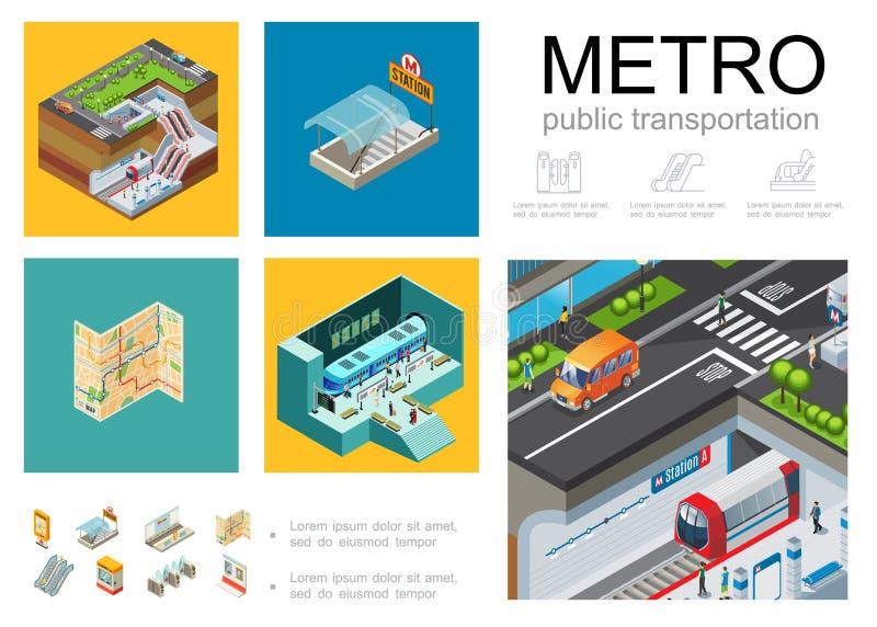 Conceito isométrico de Infographic do metro ilustração do vetor