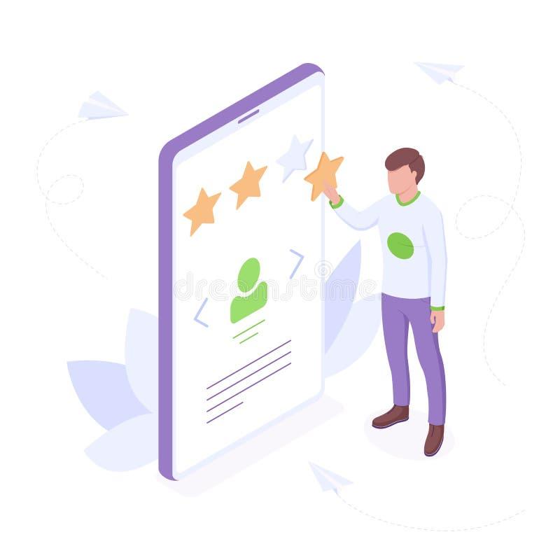 Conceito isométrico de revisão do cliente - o jovem acrescenta uma estrela na classificação de perfil, mostrando a sua satisfação ilustração do vetor