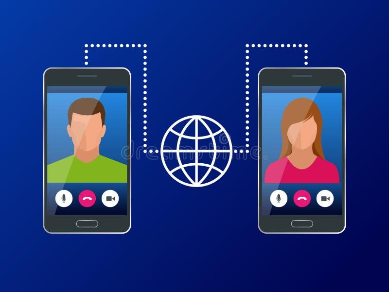Conceito isométrico de uma comunicação global do mundo com a grande distância Homem e mulher que comunicam-se com o bate-papo vid ilustração royalty free