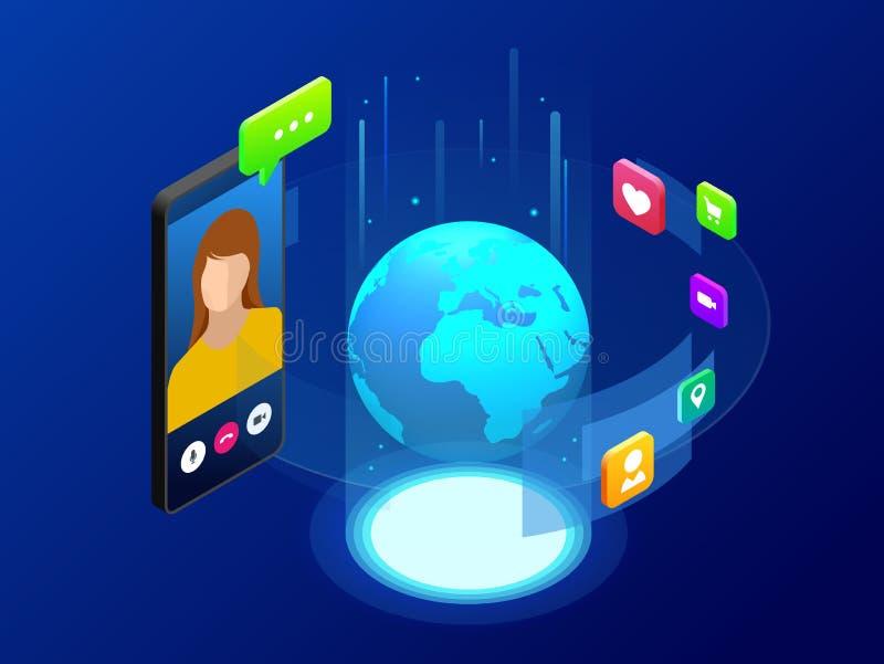 Conceito isométrico de uma comunicação global do mundo com a grande distância Homem e mulher que comunicam-se com o bate-papo vid ilustração stock