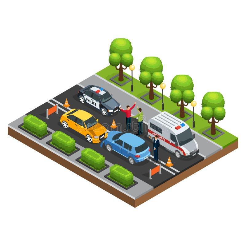Conceito isométrico do acidente de trânsito ilustração royalty free