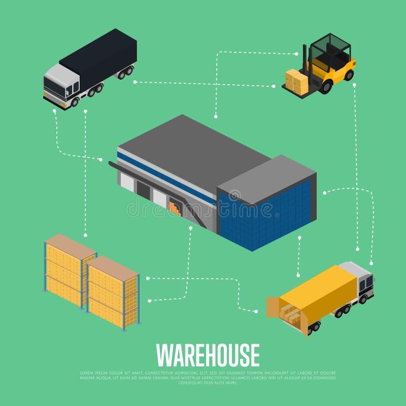 Conceito isométrico do armazém com construção de armazenamento ilustração royalty free