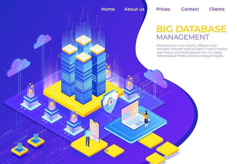 Conceito isométrico do banco de dados Página da aterrissagem da tecnologia do negócio do servidor, página da web infographic do n ilustração stock