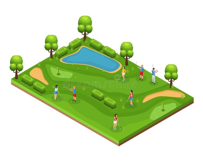 Conceito isométrico do campo de golfe ilustração royalty free