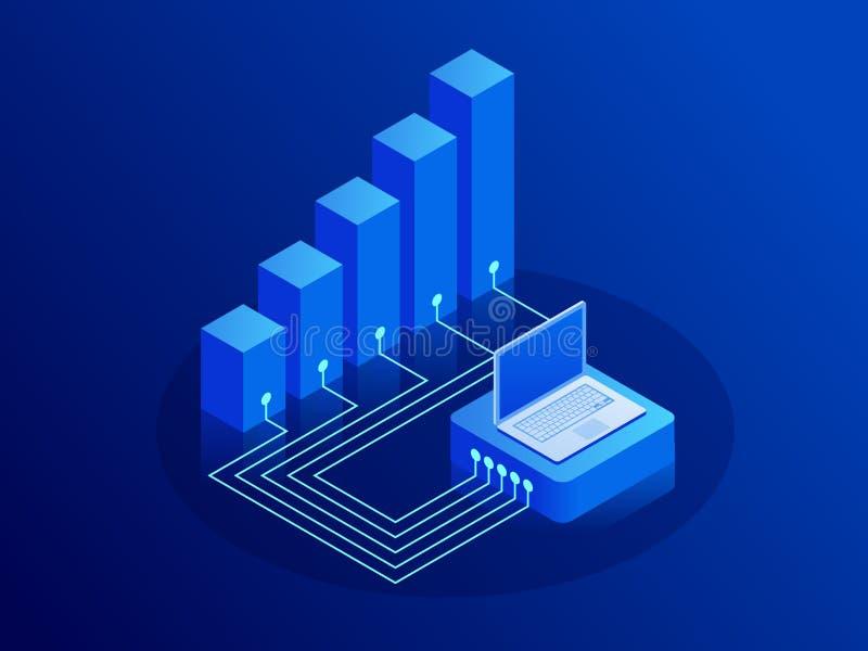 Conceito isométrico do crescimento e de renda A inovação representa graficamente relações Portátil com cartas e gráficos ilustração stock